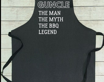 Denim Grill Apron Guncle the man the legend the BBQ Legend gay uncle Brother Gift