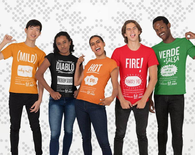 Taco Bell Sauce Costume T Shirt Diablo Fire Hot Mild Verde Halloween Goup costume Couples Costume Engaged Costume Funny Safe for work