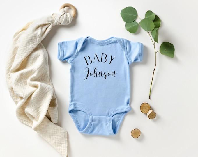 Baby Bodysuit, Custom Name, Pregnancy reveal, announcement, Photo Prop, Last Name bodysuit, Custom Date, Custom Baby Gift,