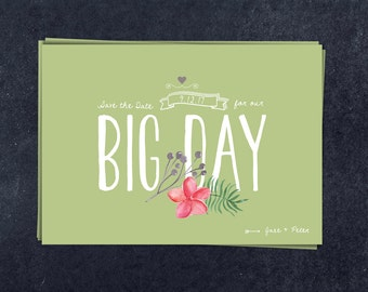 "Minimalist Save the date template / Vintage style / ""Big Day"""