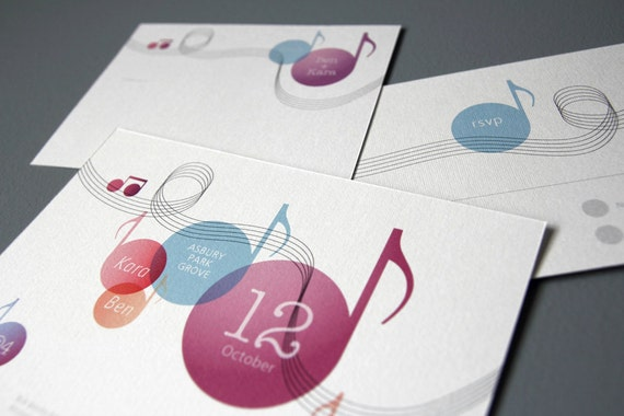 Music Themed Wedding Invitation Set Printable Diy Suite Etsy