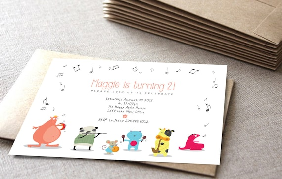 Monster Birthday Invitation Music Theme Cute Animals