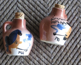 Assembled Hillbilly Pottery Moonshine Jug Joy Joose w Ma and Pa Cups Boone County 1950s Fifties or 1960s Made in Tennessee and Ozarks