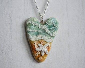 Beach Theme, Heart Shaped, Polymer Clay, Pendant, Necklace