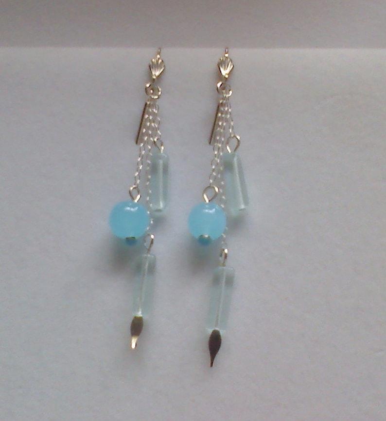 Blue Quartz Dangling Earrings image 0