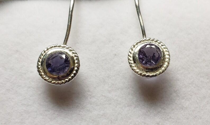 Iolite Fishhook Earrings image 0