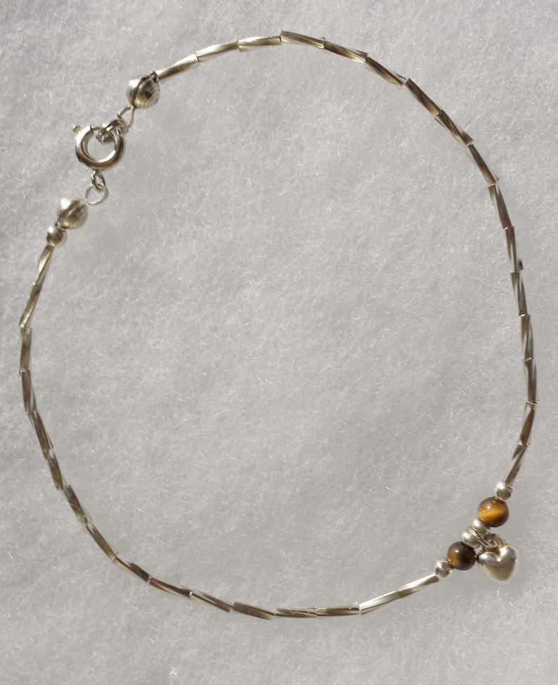 Tiger Eye and heart anklet image 0