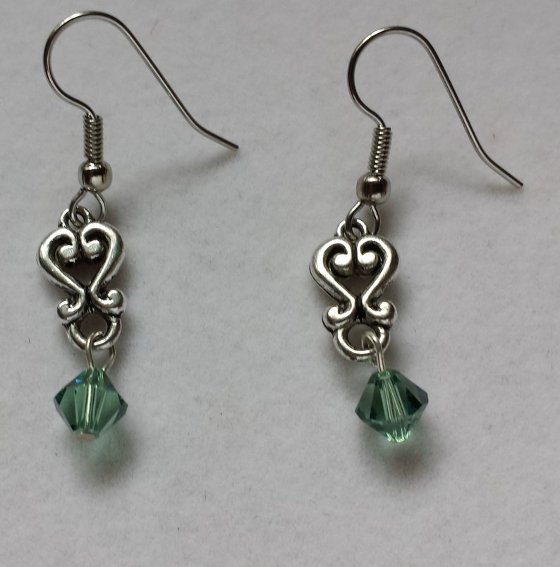 Pewter Heart Earrings with Green Swarovski Crystal image 0
