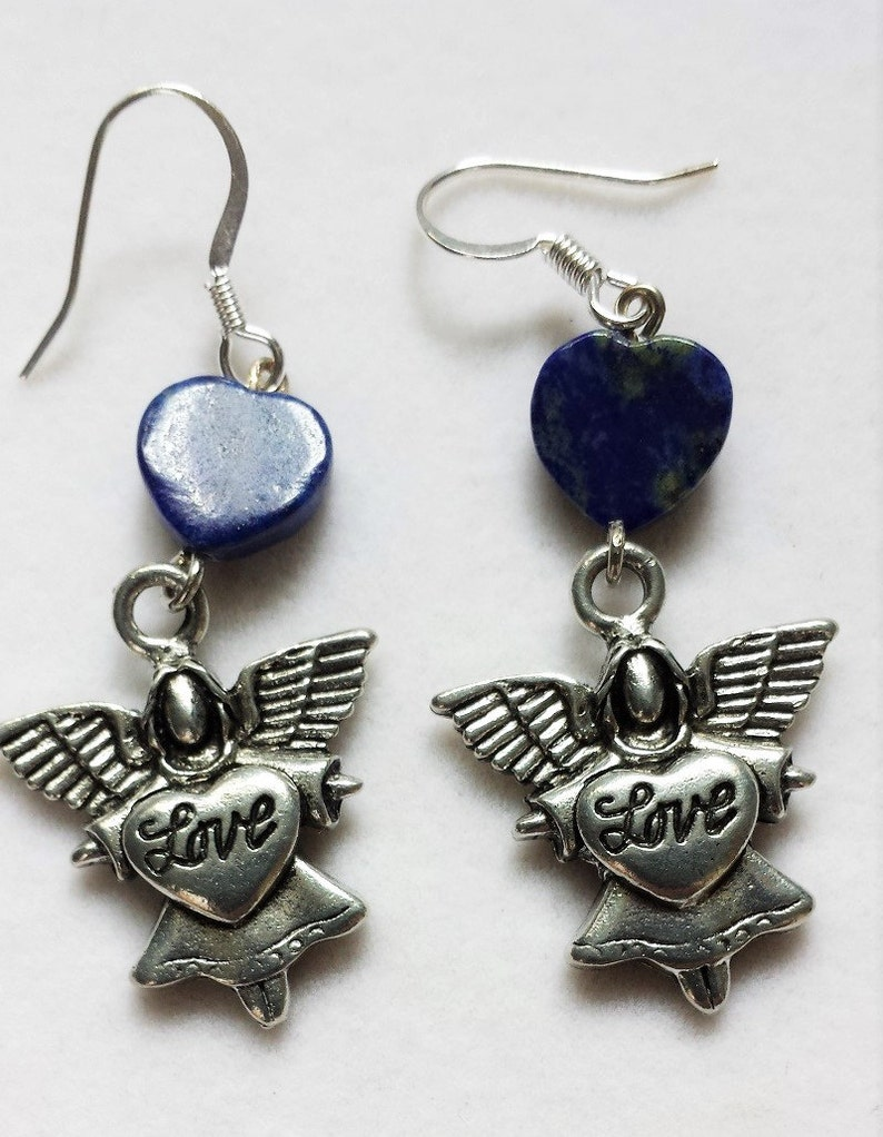 Love Angel with Lapis Heart Earrings image 0