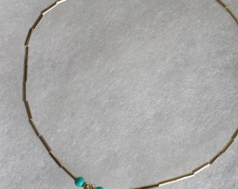 Heart and Turquoise Anklet