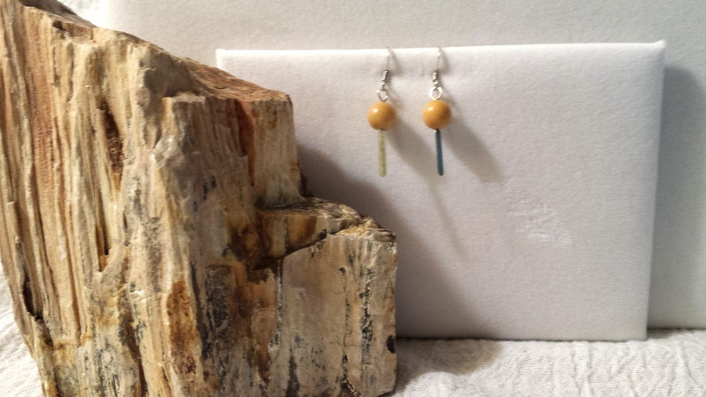 Pierced Yellow Jade Earrings image 0