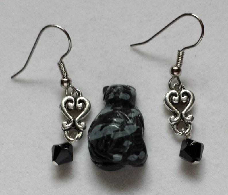 Pewter Heart Earrings with Black Swarovski Crystal image 0