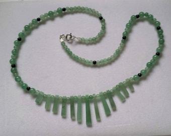 Green Aventurine Fan Necklace