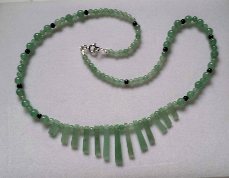 Green Aventurine Fan Necklace image 0