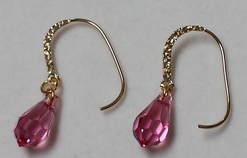 Rose Pink Crystal Earrings image 0