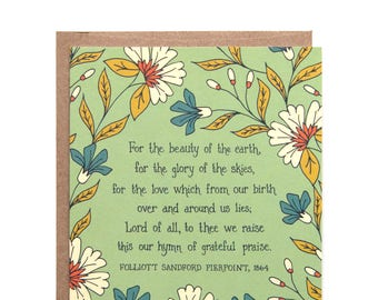 For the Beauty of the Earth Hymn Greeting Card gift for women stationery art print botanical print birthday card thank you card