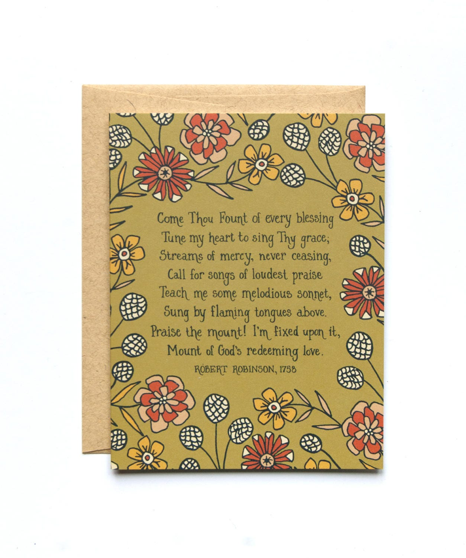 Come Thou Fount Hymn Greeting Card Christian Hymn History