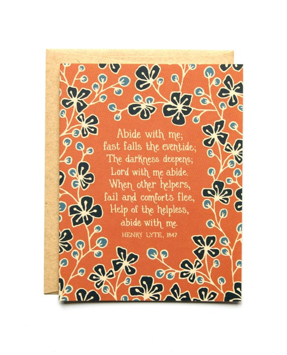 Abide With Me Hymn Greeting Card Christian History Story