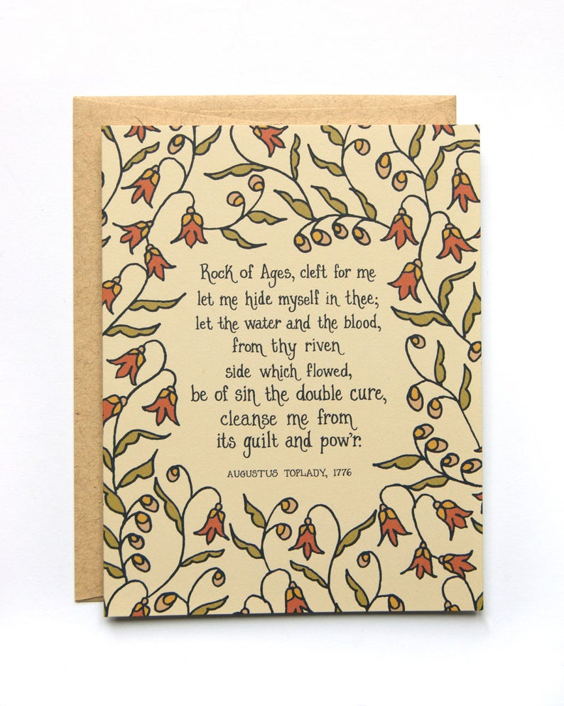 Rock Of Ages Hymn Greeting Card Christian History Floral