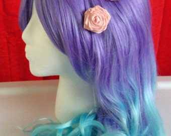 Victorian Classic Lolita Pink Ribbon Rose Bobby Pin Set