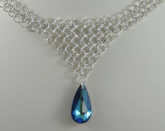 Chainmaille V Necklace with Peacock Teardrop Crystal