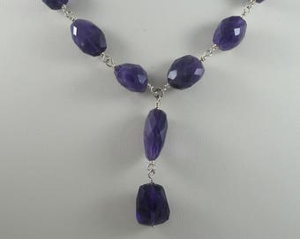Faceted Amethyst Pebble Necklace
