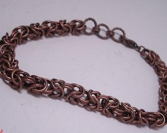 Antique Copper Byzantine Chainmaille Bracelet