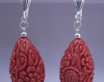 Red or Ivory Carved Coral Teardrop Earrings