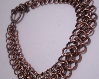 Narrow 4 in 1 Antique Copper Chainmaille Bracelet