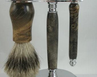 Dyed Buckeye Burl Shaving Set