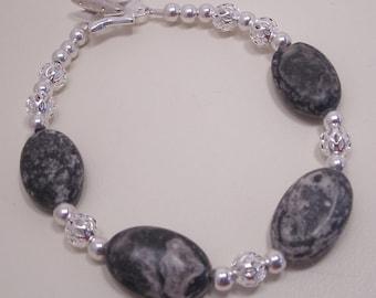 Black and Gray Marble Bracelet