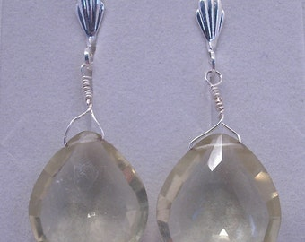 Faceted Lemon Quartz Teardrop Earrings