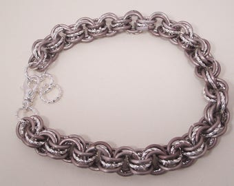 Matte Taupe and Twisted Silver Triple Stack Bracelet