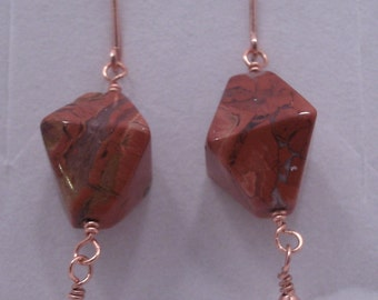 Red Agate Octahedron and Copper Earrings