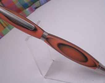 Orange And Black Acrylic Satin Nickel Pen