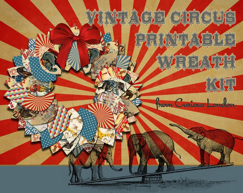 Printable Vintage Circus Instant Download Papercrafting Wreath image 0