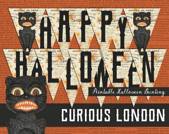 Printable Vintage Halloween Party Black Cat Instant Download Bunting Banner from Curious London