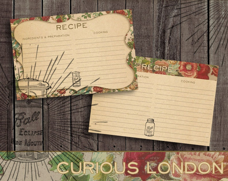 Vintage Style Old Fashioned Mason Jar Recipe Cards from image 0