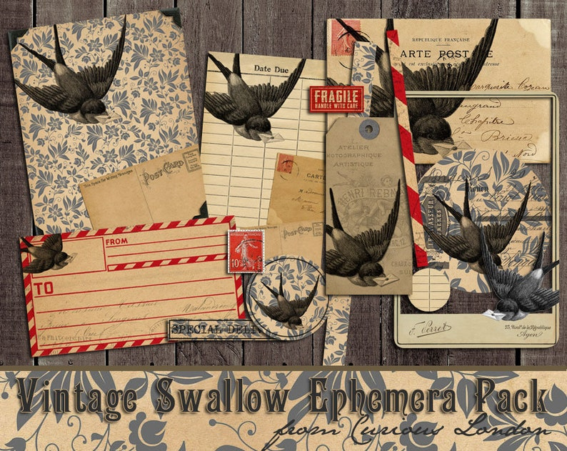 Printable Vintage Swallow Instant Download Scrapbooking Junk image 0