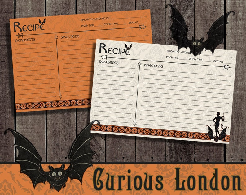 Vintage Style Retro Halloween Devil Recipe Cards from Curious image 0