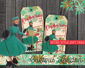 Vintage Style Handmade Retro Kitschy Kitschmas 1950s Christmas Gift Tags from Curious London with FREE SHIPPING