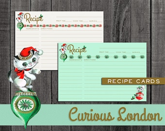 Retro Style 1950s Christmas Kitschy Kitten Recipe Cards from Curious London with FREE SHIPPING