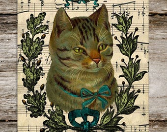 Clarence, Patron Saint of Fancy Cats Vintage Style Antique Cat Print from Curious London