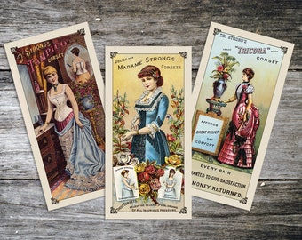 Victorian Corset Ad Reproduction Print Set from Curious London