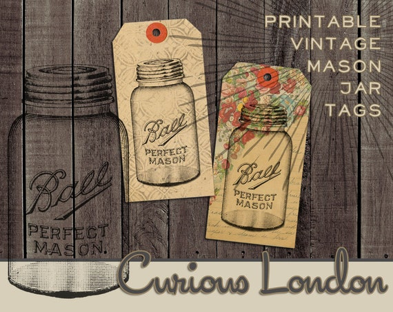 Printable Vintage Style Old Fashioned Mason Jar Instant Download Gift Tag Crafting Sheet from Curious London
