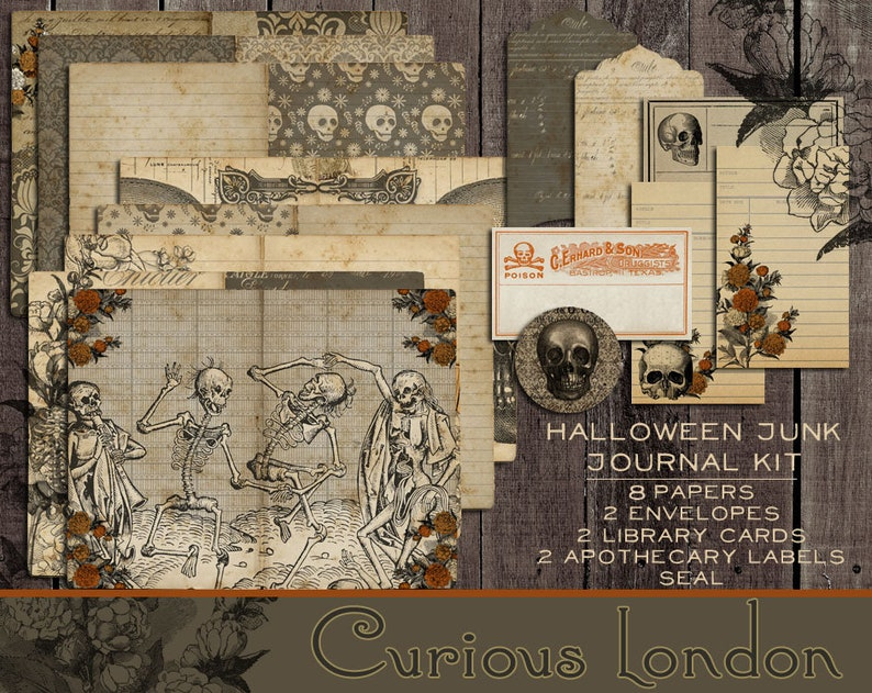 Printable Antique Halloween Danse Macabre Skeleton Instant image 0