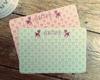 Handmade Vintage Style Old Fashioned Reindeer Christmas Recipe Cards from Curious London