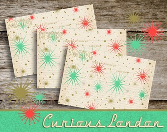 Vintage Style Handmade Retro 1950s Style Christmas Recipe Cards from Curious London with FREE SHIPPING