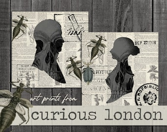 Vintage Style Antique Silhouette Skull & Insect Gothic Parlor Print Set from Curious London with FREE SHIPPING