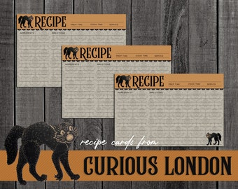 Vintage Style Halloween Black Cat Recipe Cards from Curious London with FREE SHIPPING